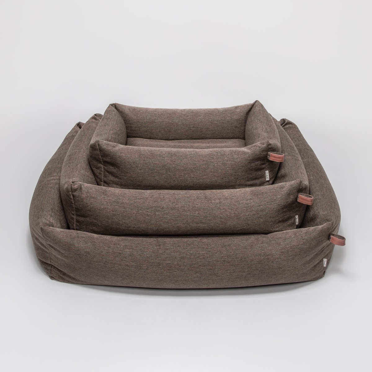 DOG BED SLEEPY HERRINGBONE BROWN