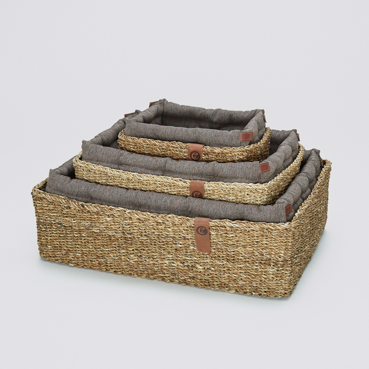 DOG BED HIDEAWAY HERRINGBONE BROWN